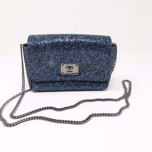 Jimmy Choo Blue/Silver Glitter Ruby Handbag